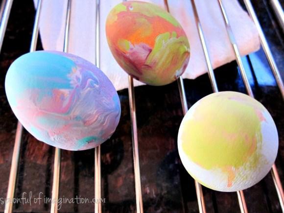 painting wood eggs