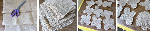 cutting burlap pieces