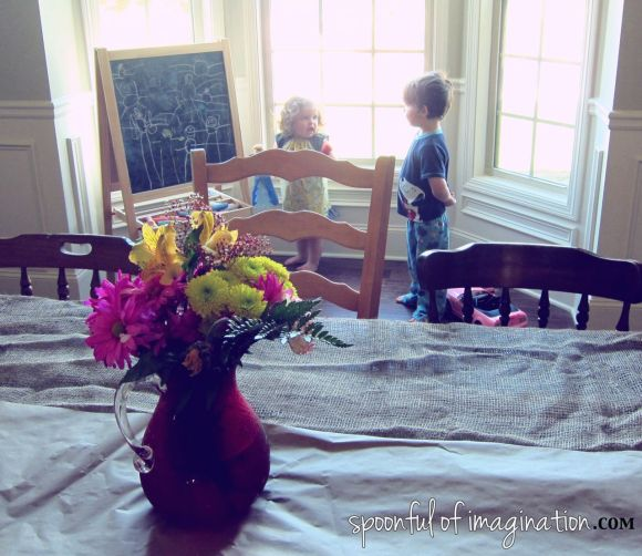 kids playing in dinning room