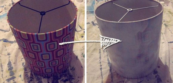 spray painting a lampshade