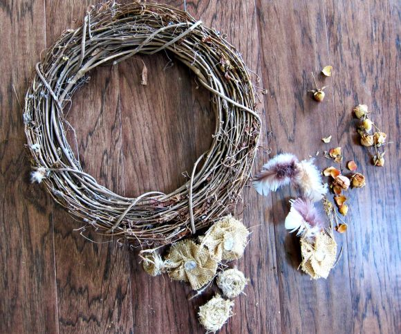taking apart old wreath to make a new wreath