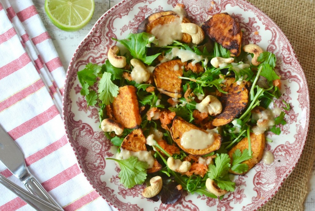Sweet Potato & Cashew Salad with an Asian Dressing
