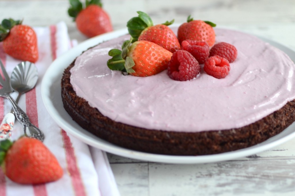 Grain-free Chocolate Courgette Cake with a Raspberry Cashew Frosting