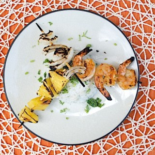 Red Curry Coconut Marinated Shrimp with Grilled Pineapple and Sweet Onion over Cilantro-Coconut Rice