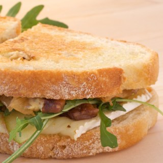Grilled Brie and Apple Sandwiches with Onion Jam and Maple Dijon