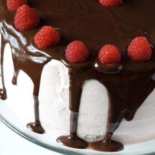 Dark Chocolate Raspberry Truffle Cake