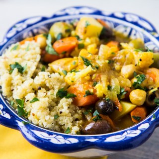 Vegetarian Tagine with Preserved Lemon and Olives with Fluffy Lemon Quinoa
