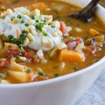 African Peanut Soup with Vegan Chive Sour Cream