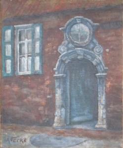 Albert Van Hecke, niet gedateerd. Vermoedelijk ook beginperiode. Heel dikke lagen verf om het reliëf van het portaal te suggereren.