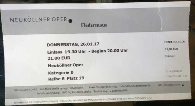 Abgerissene Eintrittskarte Neuköllner Oper