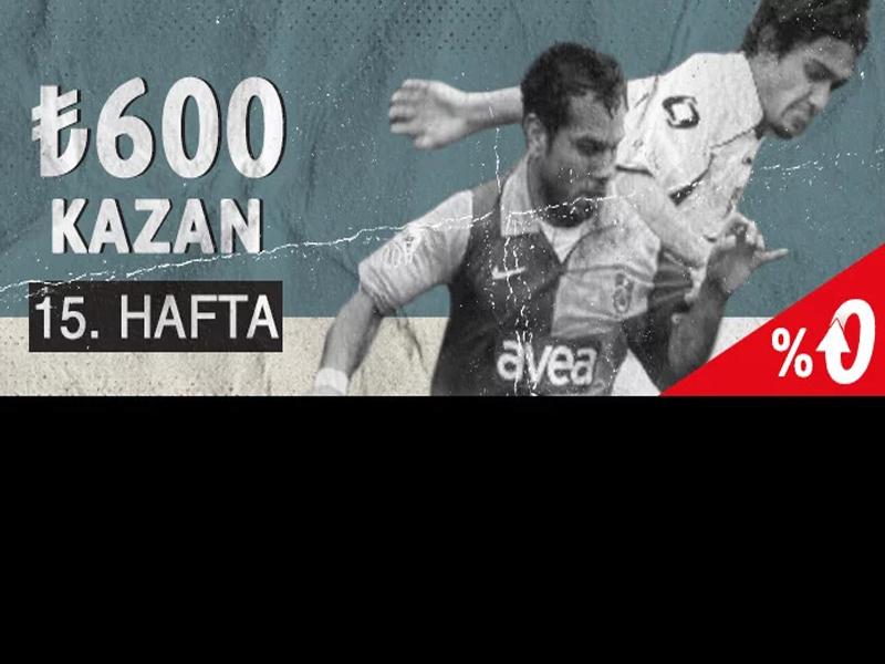 Youwin giriş adresinden katılabileceğiniz Youwin Süper Lig Hatıra Defteri 15. Haftada 600 TL bonus dağıtıyor. Süper Lig 15. Hafta kampanya detayları