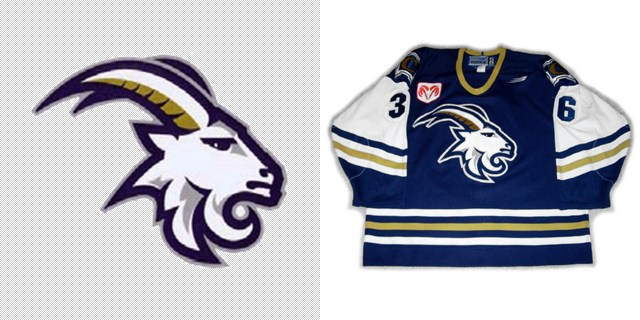 On the left the logo for the Pleasant Hill (OR) Billies and on the right the jersey for the AHL's Quebec Citadelles.