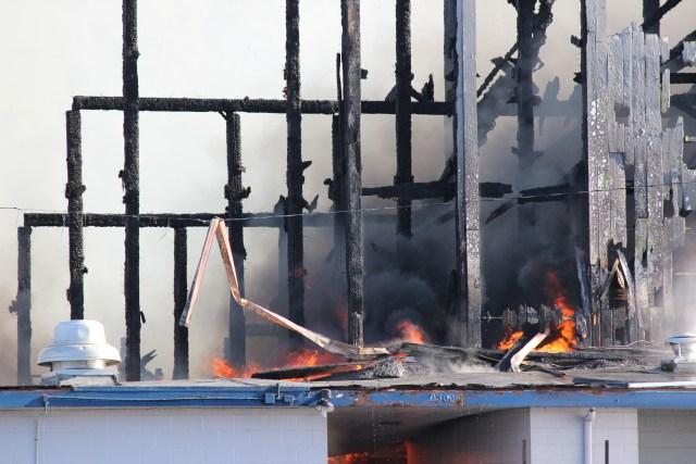 Civic Stadium Fire Closeup Back