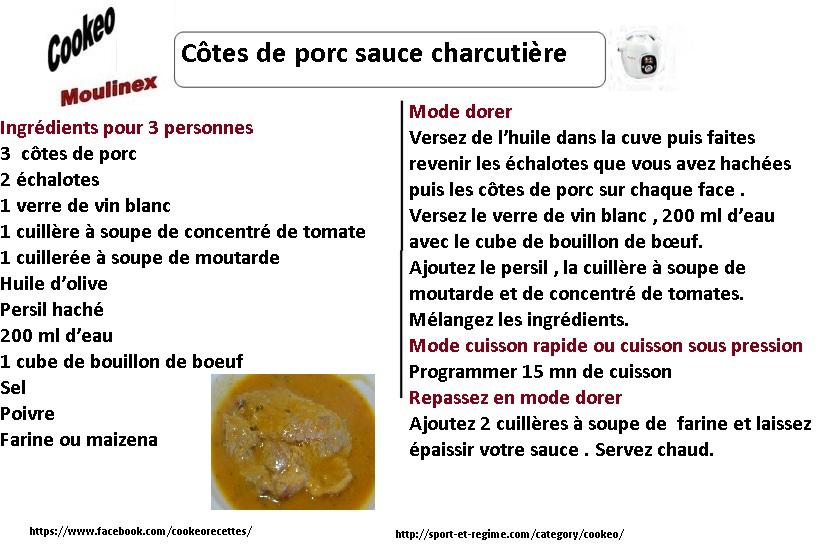 cotes de porc sauce charcutière fiche cookeo