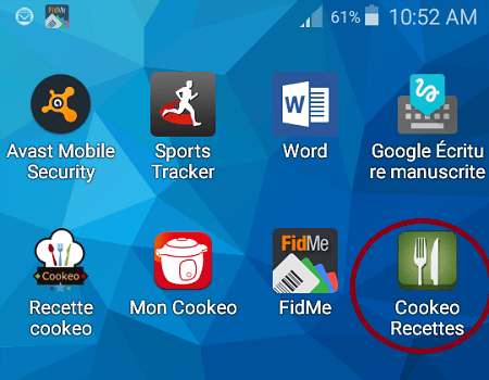 application Cookeorecettes