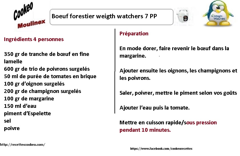 boeuf forestier weight watchers AU COOKEO