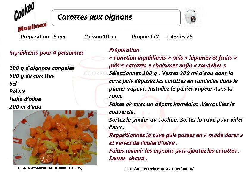 Recette cookeo diététique carottes aux oignons