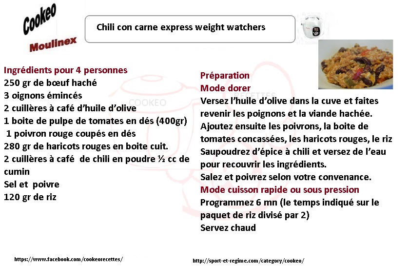 Chili con carne express weight watchers au cookeo