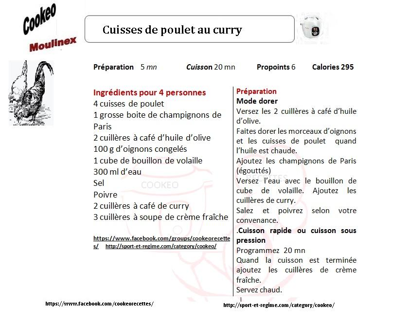 Fiche Recette Cookeo Cuisses De Poulet Au Curry