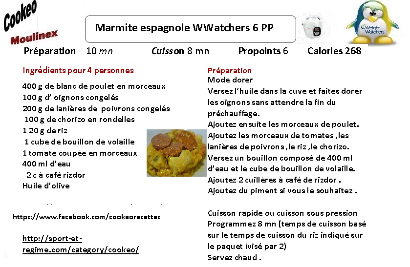 marmite espagnole weight watchers au cookeo