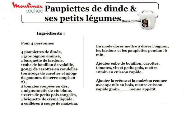 PAUPIETTES DINDE LEGUMES