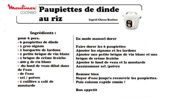 PAUPIETTES DINDE RIZ COOKEO