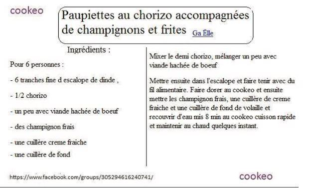 paupiettes chorizo champignons