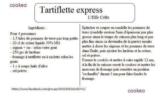 Fiches cookeo tartiflette : 2 recettes
