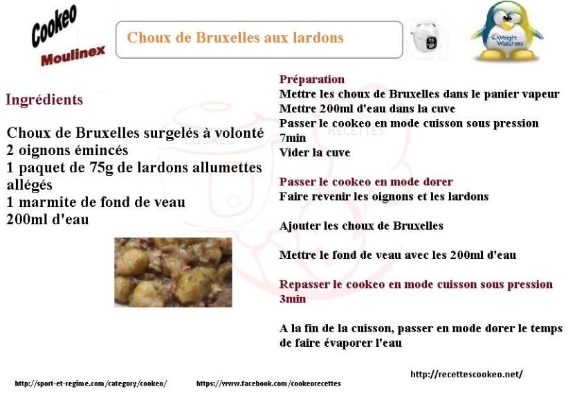 Fiche cookeo choux de Bruxelles aux lardons weight watchers