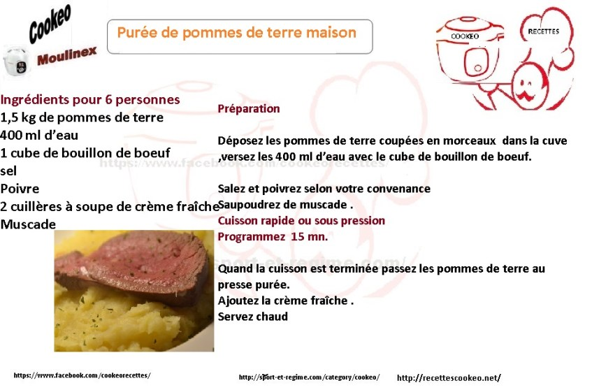 puree fiche cookeo