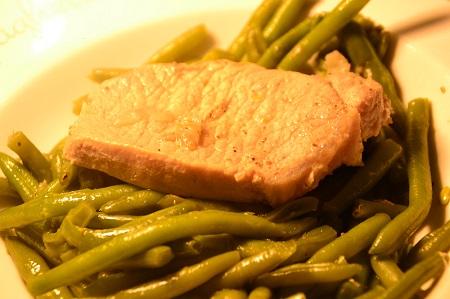 Côte de porc haricots verts cookeo