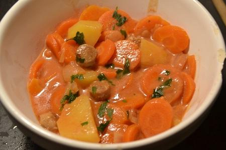 Râgout saucisses carottes recette cookeo