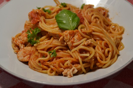 Spaghettis dinde tomates cookeo