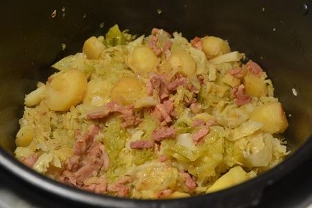 Chou vert  lardons  recette cookeo