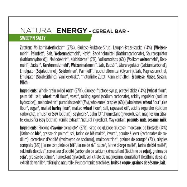 Ingrédients natural energy