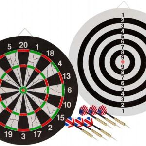 Abbey Darts dartbord Flock II 45 x 1,9 cm sisal zwart/wit 7 delig
