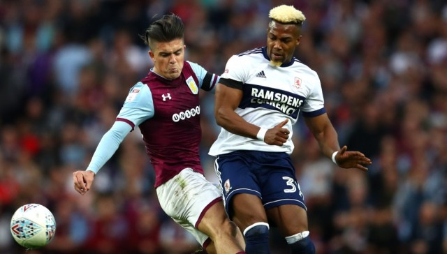 Adama Traore of Middlesbrough (r) is off to Wolves but Jack Grealish of Aston Villa (l) is not going to Spurs