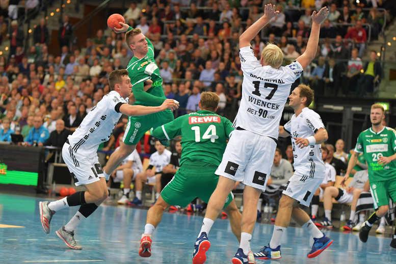 Franz Semper - SC DHfK Leipzig vs. THW Kiel - Handball Bundesliga - Arena Leipzig am 07.10.2018 - Foto: Rainer Justen
