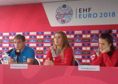 Handball EM 2018 - Ambros Martin (links), Raluca Elena Bacaoanu, Anna Vyakhireva - Media Call am 13.12.2018 in AccorHotels Arena Paris - Foto: SPORT4FINAL