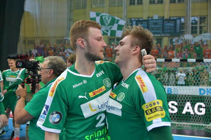 Philipp Weber und Franz Semper - SC DHfK Leipzig vs. VfL Gummersbach - 03.03.2019 Arena Leipzig - Foto: Rainer Justen