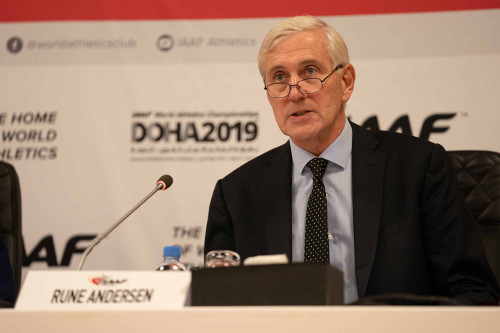 Leichtathletik WM 2019 - Task force Vorsitzender Rune Andersen in Doha - Foto: © Matthew Quine for IAAF