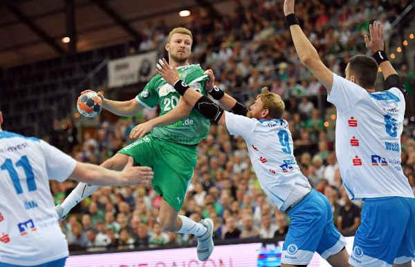 Philipp Weber - SC DHfK Leipzig vs. TVB Stuttgart - Arena Leipzig - Foto: Rainer Justen