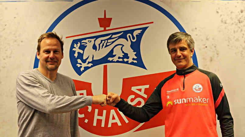 Fußball: FC Hansa Rostock – Jens Härtel und Martin Pieckenhagen (v.r.) – Copyright: © F.C. Hansa Rostock