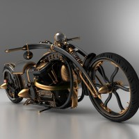 Black Widow Steampunk Chopper Extreme Custom Motorcycle Mod