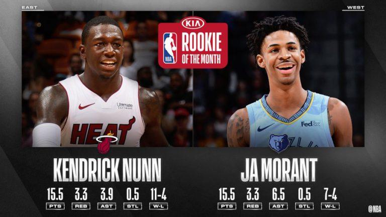 Kendrick Nunn, Ja Morant named NBA Rookies of the Month