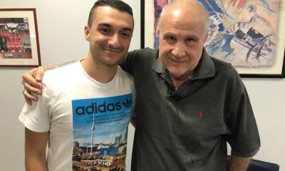 Lo studente Alessandro Calabretti e il presidente del Piacenza Calcio Stefano Gatti