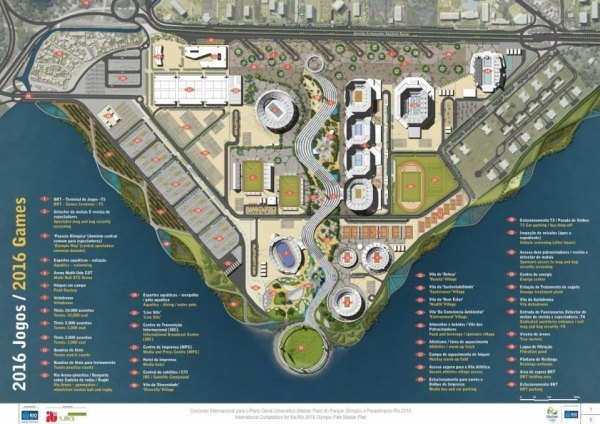 Plan du Parc Olympique de Barra en configuration JO (Crédits - AECOM / Rio 2016)