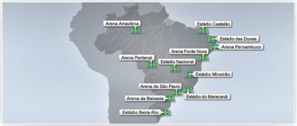 Carte des Stades - Brasil 2014