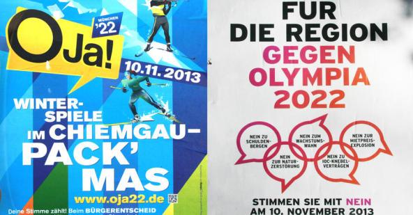 Affiche de campagne des partisans et des opposants à la candidature de Munich 2022