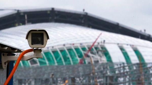 A CCTV surveillance camera is mounted near a venue of the Sochi 2014 Winter Games in Sochi